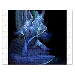 Gothic Blue Ice Crystal Palace Fantasy Jigsaw Puzzle (Rectangular)