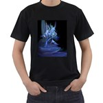 Gothic Blue Ice Crystal Palace Fantasy Black T-Shirt