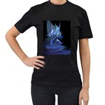 Gothic Blue Ice Crystal Palace Fantasy Women s Black T-Shirt