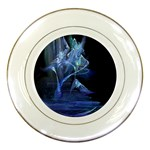 Gothic Blue Ice Crystal Palace Fantasy Porcelain Plate