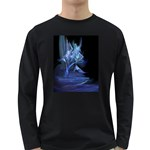 Gothic Blue Ice Crystal Palace Fantasy Long Sleeve Dark T-Shirt
