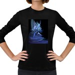 Gothic Blue Ice Crystal Palace Fantasy Women s Long Sleeve Dark T-Shirt