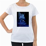 Gothic Blue Ice Crystal Palace Fantasy Maternity White T-Shirt