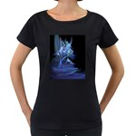 Gothic Blue Ice Crystal Palace Fantasy Maternity Black T-Shirt