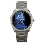 Gothic Blue Ice Crystal Palace Fantasy Sport Metal Watch