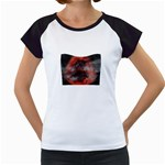 Bloody Gothic Demon Skull Moon Goth Art Women s Cap Sleeve T
