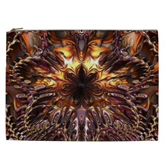 Golden Metallic Abstract Flower Cosmetic Bag (xxl)  by CrypticFragmentsDesign
