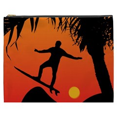 Man Surfing At Sunset Graphic Illustration Cosmetic Bag (xxxl)  by dflcprints