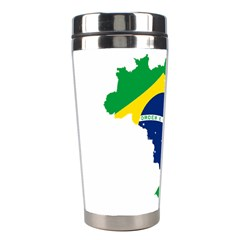 Flag Map Of Brazil  Stainless Steel Travel Tumblers by abbeyz71