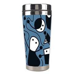 Playful Abstract Art   Blue Stainless Steel Travel Tumblers by Valentinaart