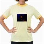 Orange Black Amoeba Fractal on Blue Women s Fitted Ringer T-Shirt