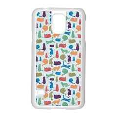 Blue Colorful Cats Silhouettes Pattern Samsung Galaxy S5 Case (white) by Contest580383