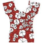 Cvdr0098 Red White Black Flowers Women s V-Neck Cap Sleeve Top