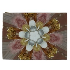 Elegant Antique Pink Kaleidoscope Flower Gold Chic Stylish Classic Design Cosmetic Bag (xxl)  by yoursparklingshop