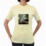 Three Women Vampires in White Women s Yellow T-Shirt