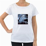 Three Women Vampires in White Maternity White T-Shirt