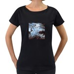 Three Women Vampires in White Maternity Black T-Shirt