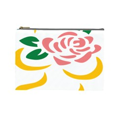 Pink Rose Ribbon Bouquet Green Yellow Flower Floral Cosmetic Bag (large)  by Mariart