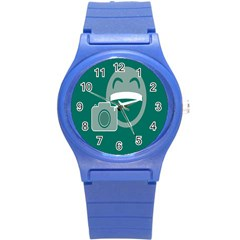 Laughs Funny Photo Contest Smile Face Mask Round Plastic Sport Watch (s) by Mariart