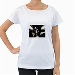 Gothic Girl in Computer Fantasy Maternity White T-Shirt