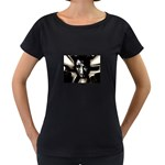 Gothic Girl in Computer Fantasy Maternity Black T-Shirt