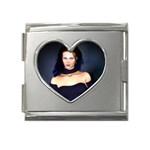 Gothic Girl Black and Blue Mega Link Heart Italian Charm (18mm)
