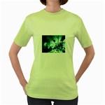 Dark Glass Explosion Goth Punk Fantasy Women s Green T-Shirt