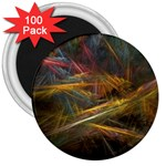 Pastel Spikes on Black Fractal 3  Magnet (100 pack)