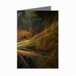 Pastel Spikes on Black Fractal Mini Greeting Card
