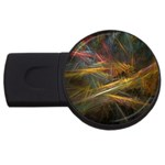 Pastel Spikes on Black Fractal USB Flash Drive Round (1 GB)