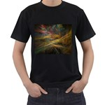 Pastel Spikes on Black Fractal Black T-Shirt