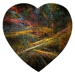 Pastel Spikes on Black Fractal Jigsaw Puzzle (Heart)