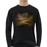 Pastel Spikes on Black Fractal Long Sleeve Dark T-Shirt