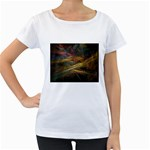 Pastel Spikes on Black Fractal Maternity White T-Shirt