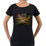 Pastel Spikes on Black Fractal Maternity Black T-Shirt