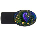 Blue Green Snails Under Sea Fractal USB Flash Drive Oval (2 GB)