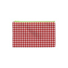 Friendly Houndstooth Pattern,red Cosmetic Bag (xs) by MoreColorsinLife