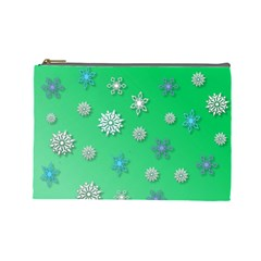 Snowflakes Winter Christmas Overlay Cosmetic Bag (large)  by Onesevenart