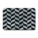 CHEVRON1 BLACK MARBLE & ICE CRYSTALS Small Doormat