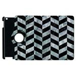 CHEVRON1 BLACK MARBLE & ICE CRYSTALS Apple iPad 2 Flip 360 Case