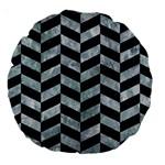 CHEVRON1 BLACK MARBLE & ICE CRYSTALS Large 18  Premium Round Cushions