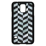 CHEVRON1 BLACK MARBLE & ICE CRYSTALS Samsung Galaxy S5 Case (Black)