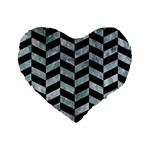 CHEVRON1 BLACK MARBLE & ICE CRYSTALS Standard 16  Premium Flano Heart Shape Cushions