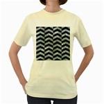 CHEVRON2 BLACK MARBLE & ICE CRYSTALS Women s Yellow T-Shirt