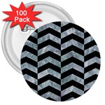 CHEVRON2 BLACK MARBLE & ICE CRYSTALS 3  Buttons (100 pack)