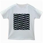 CHEVRON2 BLACK MARBLE & ICE CRYSTALS Kids White T-Shirts