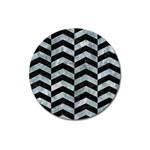 CHEVRON2 BLACK MARBLE & ICE CRYSTALS Magnet 3  (Round)