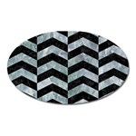 CHEVRON2 BLACK MARBLE & ICE CRYSTALS Oval Magnet