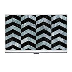 CHEVRON2 BLACK MARBLE & ICE CRYSTALS Business Card Holders