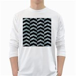 CHEVRON2 BLACK MARBLE & ICE CRYSTALS White Long Sleeve T-Shirts